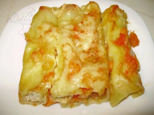 Cannelloni cu carne de pui şi sos de roşii
