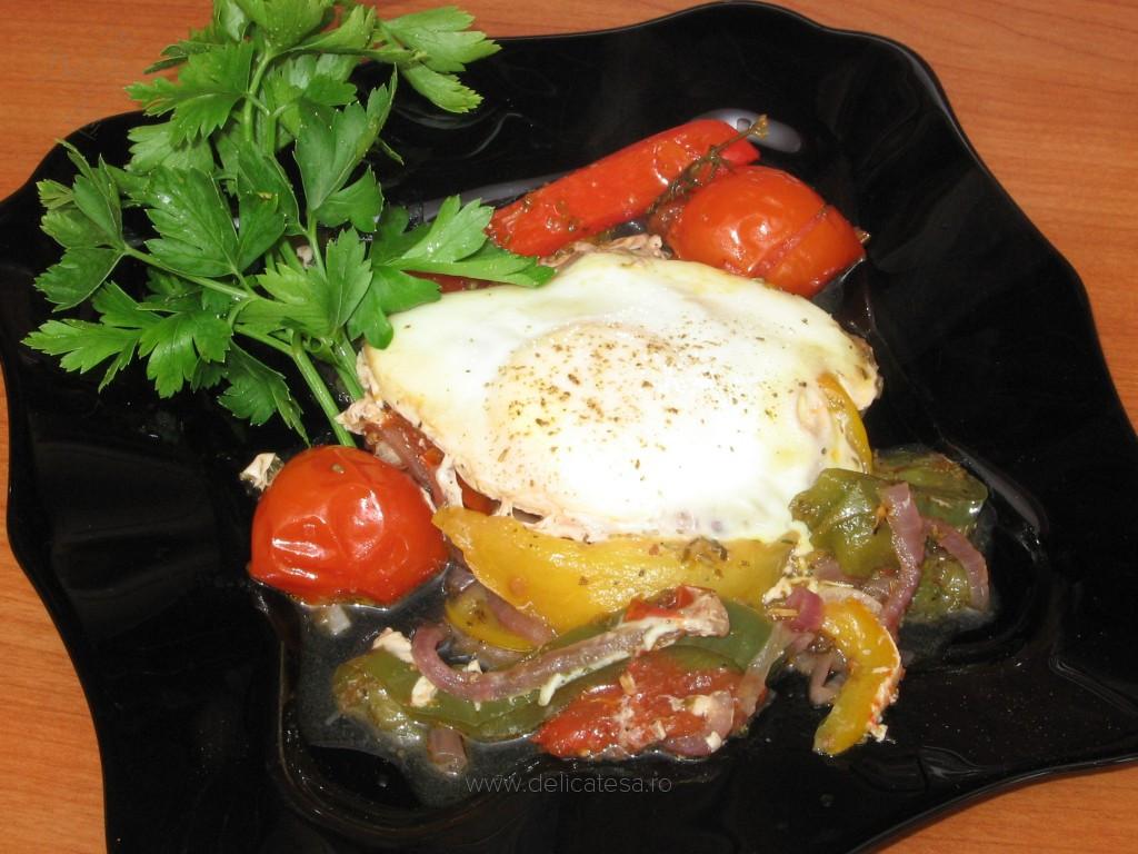 Cuiburi de ou în legume la tigaie
