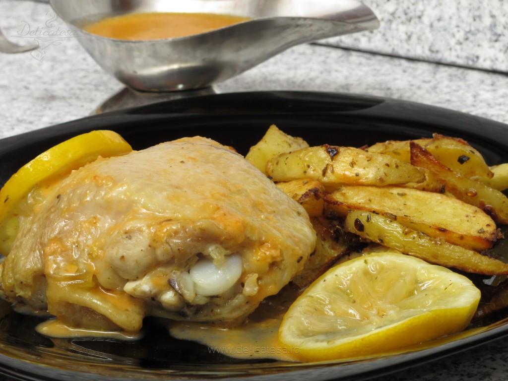 Pulpe de pui cu sos de lămâie