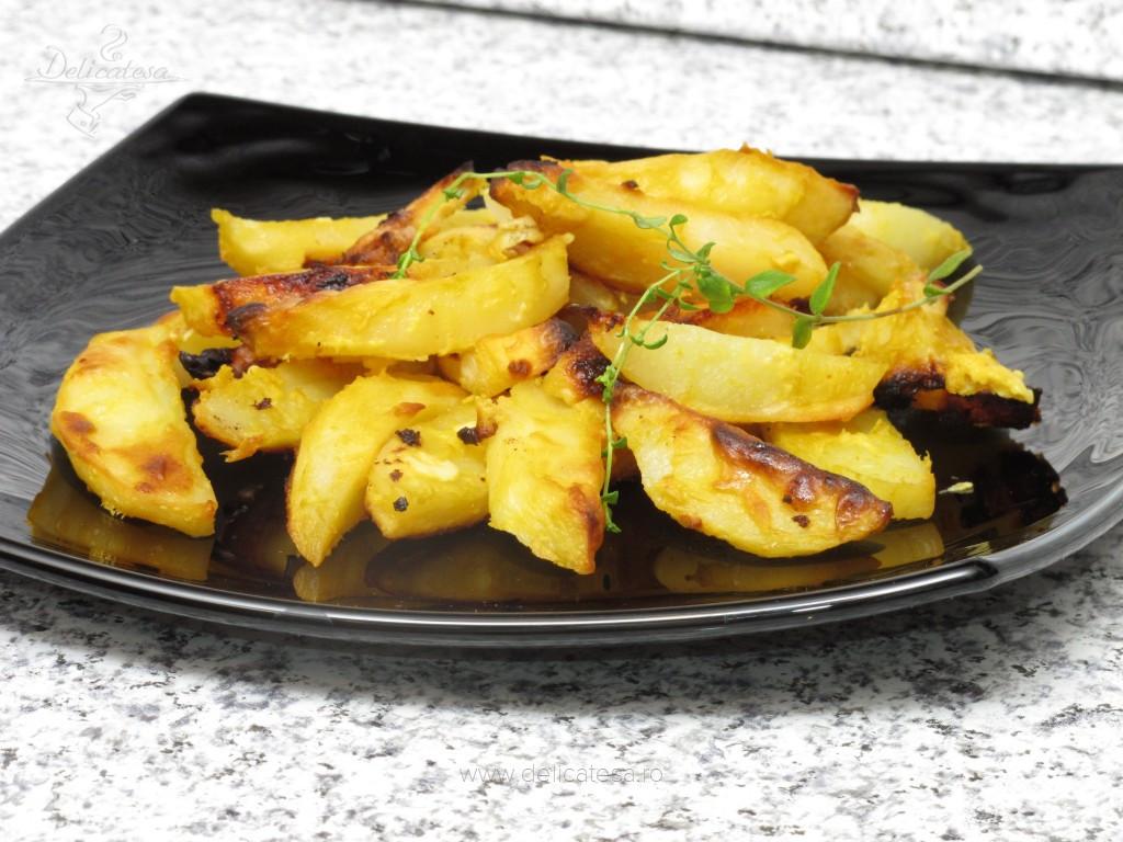 Cartofi cu muştar la cuptor