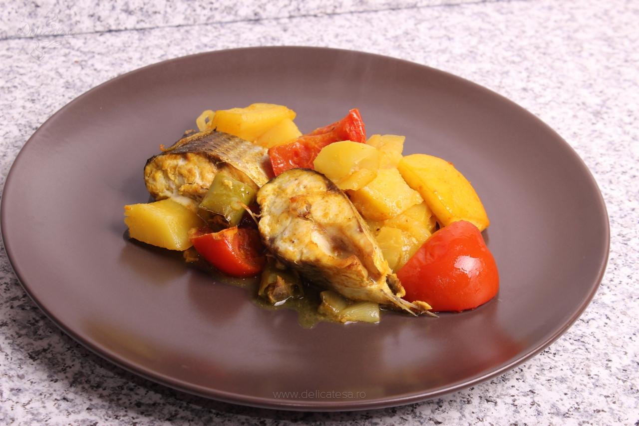 Chefal cu legume la cuptor în stil tunisian