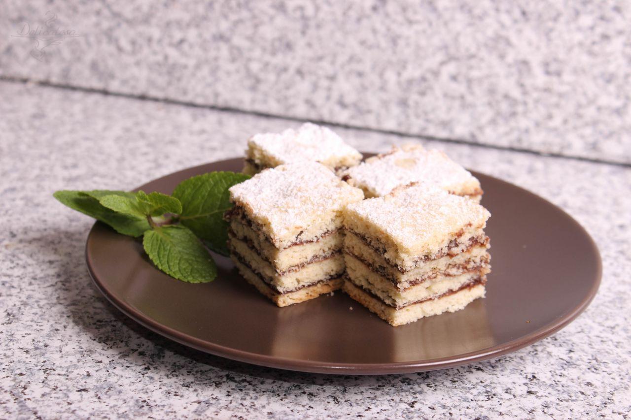Prăjitură cu foi și cremă de ciocolată